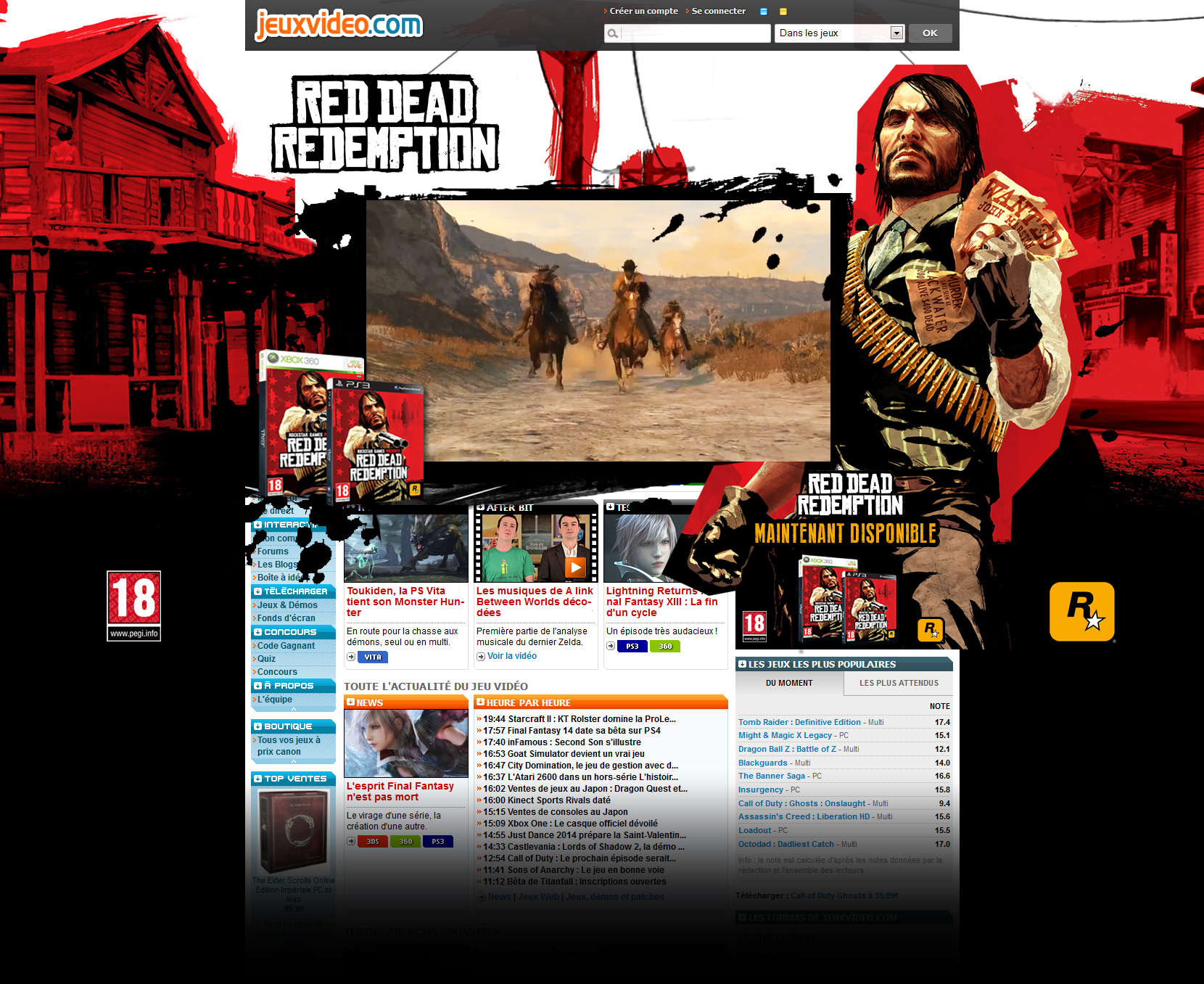 Red Dead Redemption Digital campaign: Homepage Take Over