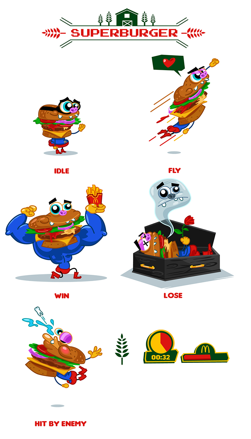 Character Design In Flash : Game prototype superburger character design flash